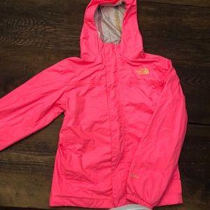 North Face Pink Girls Rain Jacket, Size M (10-12)